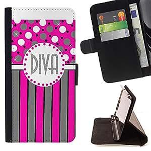 /Skull Market/ - DOT PINK GREY DIVA POLKA STRIPES LINES For Samsung Galaxy Core Prime - Caja de la carpeta del tir???¡¯???€????€???????