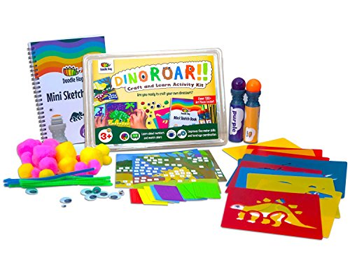 Dinosaur Arts and Crafts Kit Supplies for Kids & Preschooler includes: Dab & Dot Markers, Stencils, Mosaic, Sketch Book, Pom Poms, Googly Eyes & Pipe Cleaners -A Busy Box of Activities Over 100 Pieces