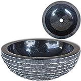 Bathroom Sink Basin Useful Solid Marble Vessle Sink Bowl 15.7'' Fashion Black Round