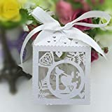 Joinwin Hot sale 50pcs Laser Cut love bird wedding favor box in pearlescent paper box baby shower,party show candy box(with ribbon)