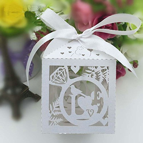 Joinwin Hot sale 50pcs Laser Cut love bird wedding favor box in pearlescent paper box baby shower,party show candy box(with ribbon) (Love Birds Paper Ribbon)
