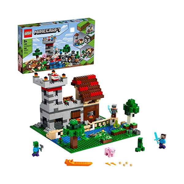 LEGO Minecraft The Crafting Box 3.0 21161 Minecraft Brick Construction Toy and Minifigures, Castle and Farm Building Set…