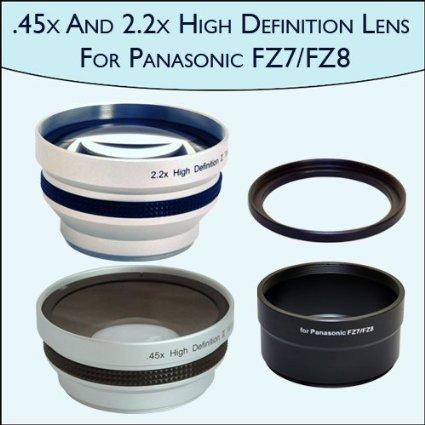 。45 x Wide Angle & 2.2 X望遠レンズセットPro for Panasonic fz7 and fz8   B004VNF9NU