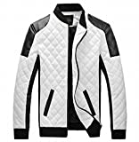 EASY Mens New Winter Faux Leather coat Thicken Jacket 3XL White