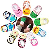 CIEHER 10 Pairs Cute Animal Stripes Non-Skid Baby Slipper Socks with Grip for Babys Older Than 6 Months Infants Toddler Grip Socks Baby, 10 Colors