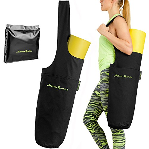 Extra Large Yoga Mat Bag by AibooSports | The Original AibooSports Yoga Mat Tote Sling Carrier For Women  Men | Large Side Pocket  Zipper Pocket | F…