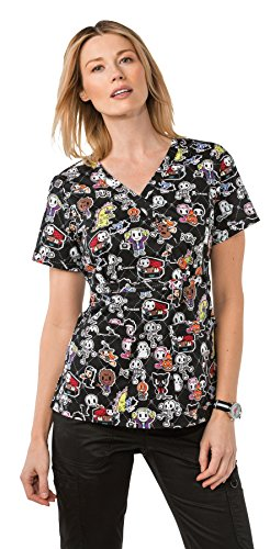 Koi By Tokidoki Women's Luna Stretch Halloween Print Scrub Top Small (Halloween Print Scrub Tops)