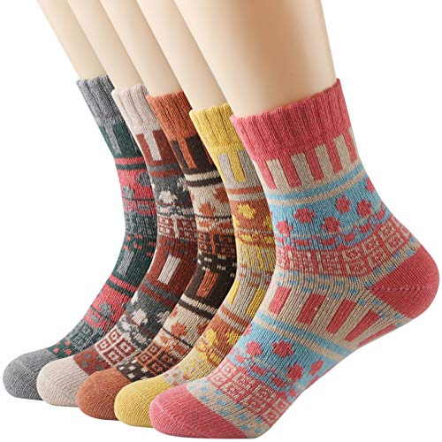 Socks Wool Angora - Thsbird Women's Thick Warm Ankle Crew Socks Women No Show Casual Soft Wool Sock 5-Pack