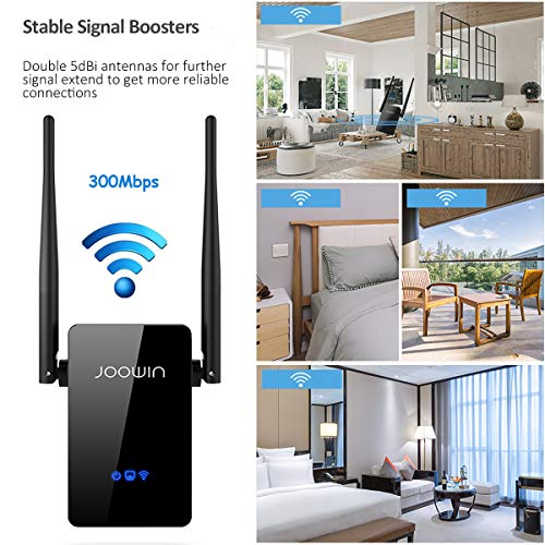 WiFi Range Extender, JOOWIN 300Mbps WiFi Range Extender Signal Booster 2.4GHz Wireless Repeater with External Antennas, Router/Repeater/Access Point Mode, WPS