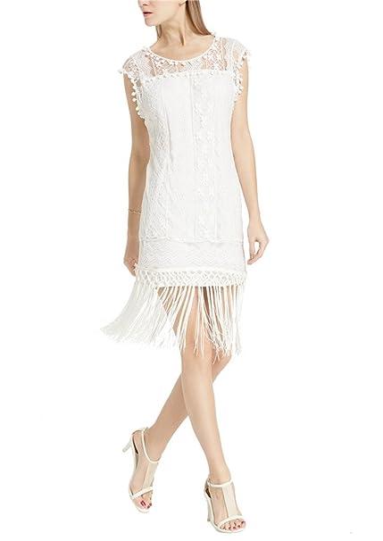 PIN Mujer Vestido de Fiesta Cortos con Borla sin Mangas Encaje Blanco Dress para
