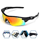 SPOSUNE Polarized Sports Sunglasses with 5 Set Interchangeable Lenses Myopia Inner Frame for Men Women RX Inserts Reading Eyewear for Cycling Running Fishing Golf Baseball
