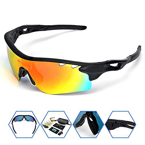 SPOSUNE Polarized Sports Sunglasses with 5 Set Interchangeable Lenses Myopia Inner Frame for Men Women RX Inserts Reading Eyewear for Cycling Running Fishing Golf ()