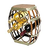 mColorful Tabletop Wine Rack,Wine Holders Racks for 6 Bottles with Barrel Shaped and Rustic Wood Top For Sale