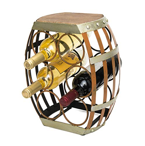 mColorful Tabletop Wine Rack,Wine Holders Racks for 6 Bottles with Barrel Shaped and Rustic Wood Top (Wooden Barrel Wine Rack)