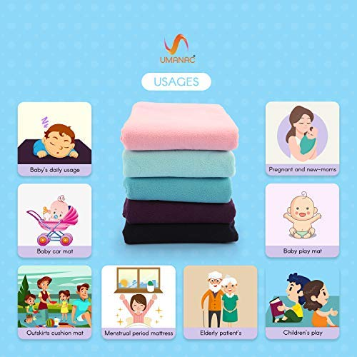 140 cm x 100 cm by Umanac Underpad for Bed Wetting Hypoallergenic Baby Bed Mattress Protector for Toddler Waterproof Mattress Protector Plum Reusable Children and Adults//Large Washable