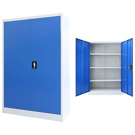 Schedario Ufficio Metallo.Vidaxl Armadio Ufficio In Metallo 90x40x140 Cm Grigio E Blu