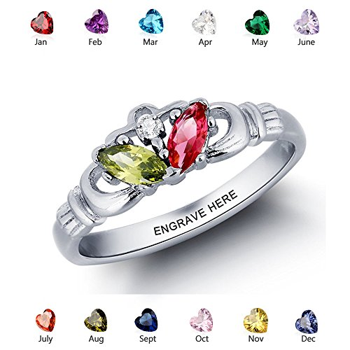 Personalized Claddagh Name Rings Silver Simulate Birthstone Irish Rings Women Design Engagement Promise Rings (9)