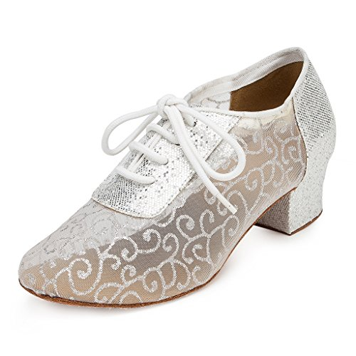 CRC Women's Stylish Round Toe Mesh Silver Sparkle Material Synthetic Ballroom Morden Tango Party Wedding Professional Dance Shoes 9 M US by CRC