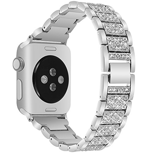 VOMA Bling Bands Compatible for Apple Watch Band 42mm 44mm Series 4/3/2/1, Stainless Steel Metal Jewelry Bracelet Bangle Wristband for Iwatch Band 42mm 44mm(Diamond Silver 42mm 44mm)