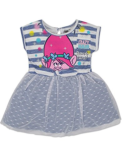 Toddler Girls' Trolls Dress Poppy - Blue and White Stripe with Embroidered Lace (5T) (Toddler Girl Dress Blue)