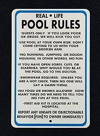 TammieLove Real Life Pool Rules - Señal de Reglas de Billar para ...