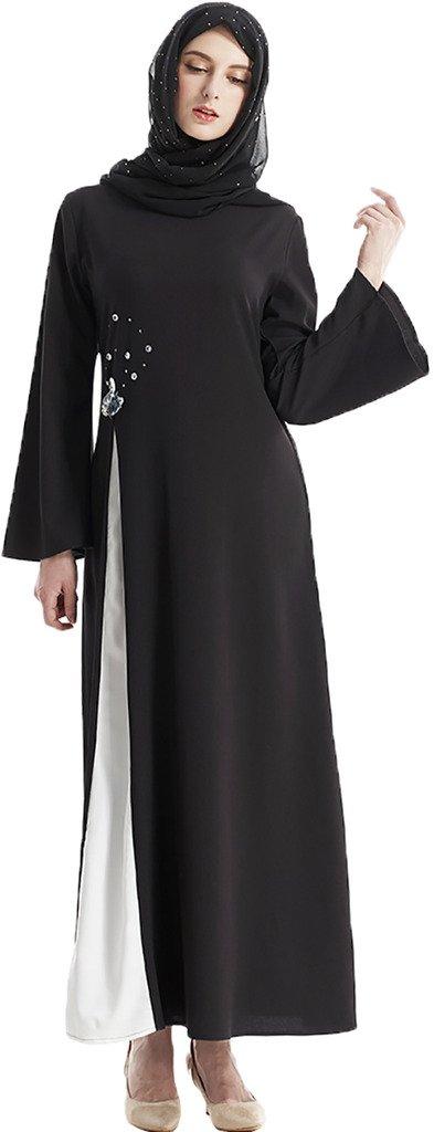YI HENG MEI Women's Elegant Modest Muslim Islamic Clothing Full Length Swan Rhinestones Long Sleeve Runway Abaya,Black,L