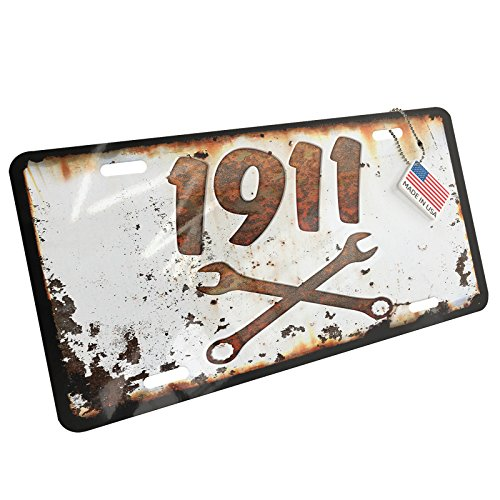 nse Plate Rusty Old Look car 1911 ()