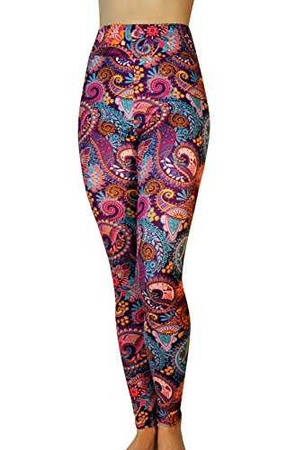Comfy Yoga Pants - Tailored Yoga Waistband - Dry Fit - Printed High Rise Yoga Leggings (Purple Paisley/Yoga Waist) (Pant Print Paisley)