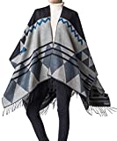 Foucome Bohemian Tassel Cashmere Poncho Capes Women's Winter Warm Ethnic Scarves Shawls Female Longer Scarf Pashmina Black