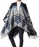Foucome Bohemian Tassel Cashmere Poncho Capes Women's Winter Warm Ethnic Scarves Shawls Female Longer Scarf Pashmina Black