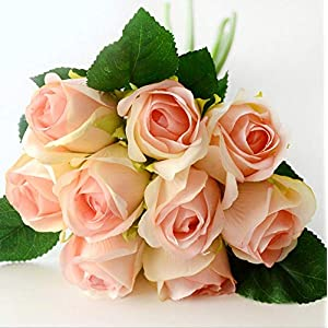 ARISLUX Chicken Party - 12pcs Artificial Rose Bouquet Decorative Silk Flowers Bride for Wedding Home Party Decoration Wedding Supplies 11
