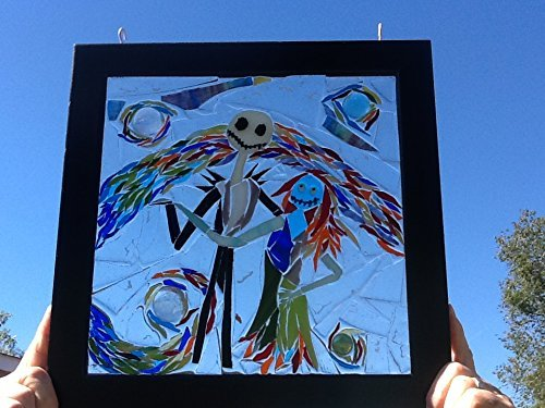 Jack and Sally Skellington Stained Glass Window Art Sun Catcher by Mountain Mosaics (Image #2)