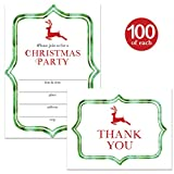 Christmas Party Invitations & Matching Thank You Cards with Envelopes ( 100 of Each ) Set of Fun Green & Red Reindeer Fill-in Invites for Large Holiday Event & Thank You Notes Best Value Combination