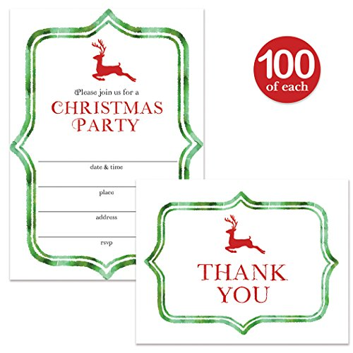 Christmas Party Invitations & Matching Thank You Cards with Envelopes ( 100 of Each ) Set of Fun Green & Red Reindeer Fill-in Invites for Large Holiday Event & Thank You Notes Best Value Combination by Digibuddha