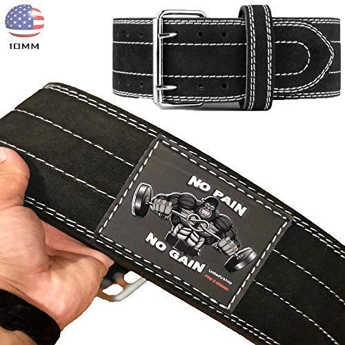 UniteduShop Heavy Duty 10MM Gym Powerlifting Squat Belt for Men and Women | 4 inch Genuine Leather - Tested and Designed in USA