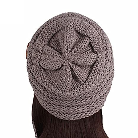 4913b1bb781 iYBUIA Women Ladies Solid Winter Button Knitting Hat Turban Brim Hat Cap  (Beige