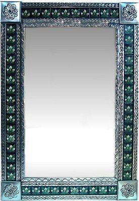 Flower Tin Mirror - Fine Crafts Imports Big Silver 3-Lily Tile Talavera Tin Mirror