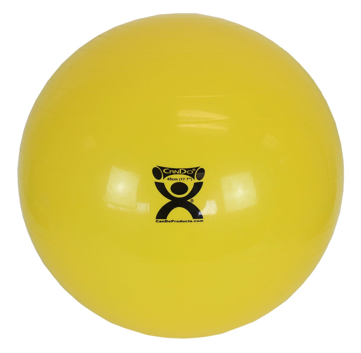 CanDo Non-Slip Vinyl Inflatable Exercise Ball, Yellow, 17.7''
