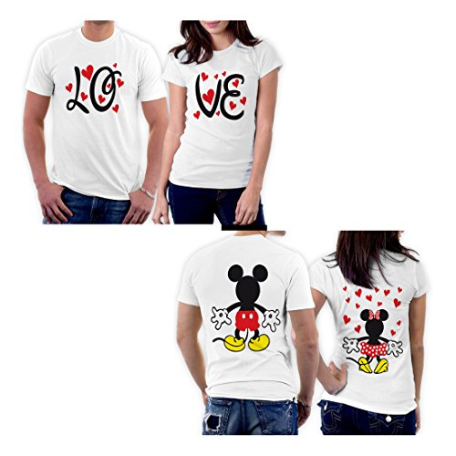 picontshirt Mickey Minnie Two Sided Matching Couple Shirts Men XL/Women XS Design 167