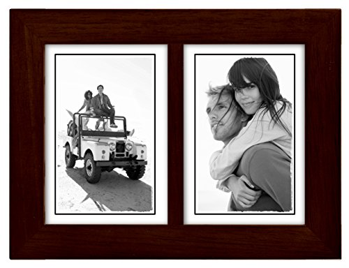 3 Large Wall Accent - Malden International Designs Linear Classic Wood Picture Frame, Split Double, 2-3.5x5, Espresso
