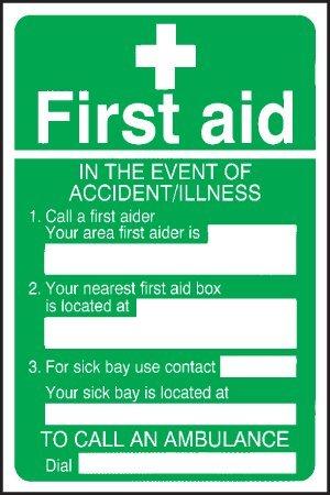 Primeros auxilios cartel - en caso de accidente/enfermedad ...