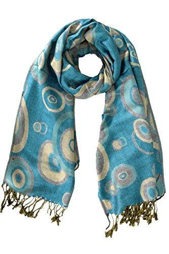 Peach Couture Womens Silky Soft Woven Luxurious Pashmina Shawl Scarf Wrap with Fringes Blue Circles