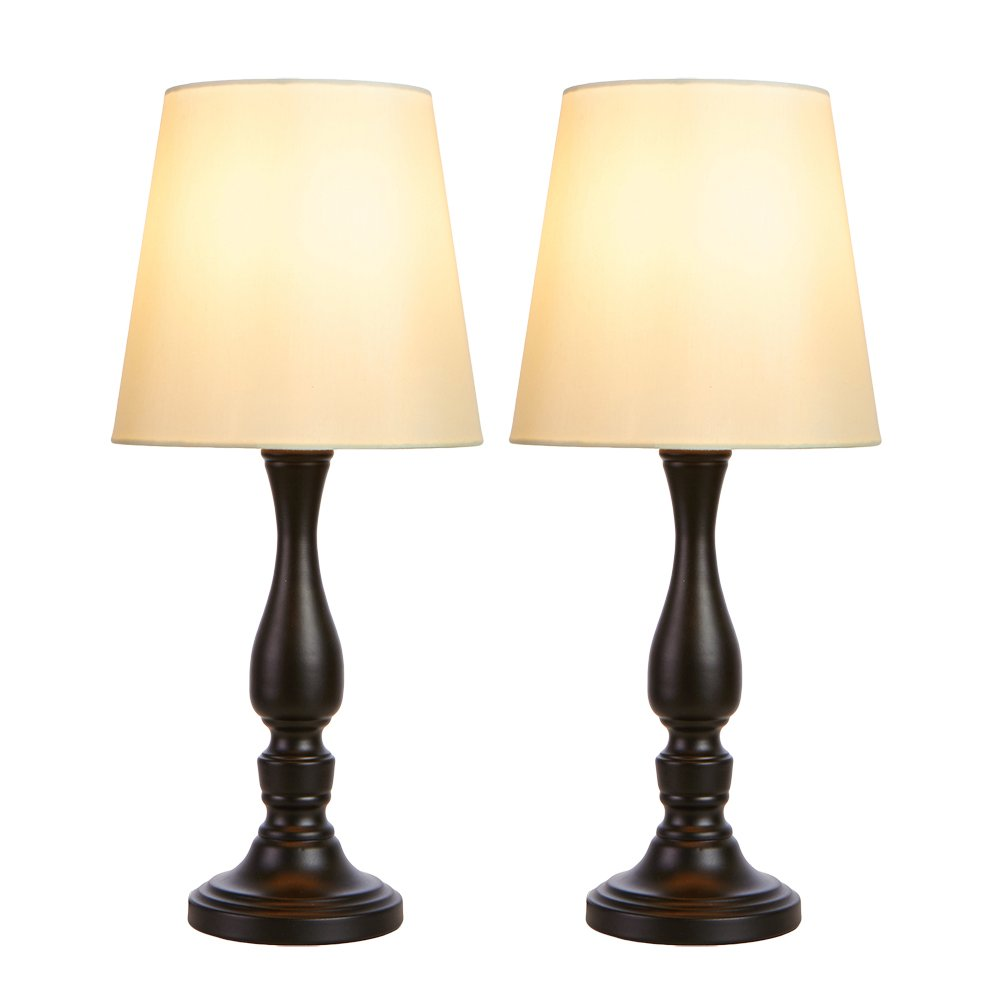 GLANZHAUS Traditional 18.5 Inches Height Bronze Iron Scrollwork Bedside Table Lamp, Desk Lamp with Beige Fabric Shade for Bedroom Living Room Office Bookcase(Set of 2)