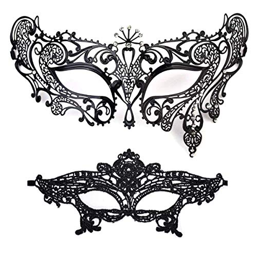Masquerade Mask for Women Shiny Rhinestone Venetian Party Prom Ball Metal Mask -