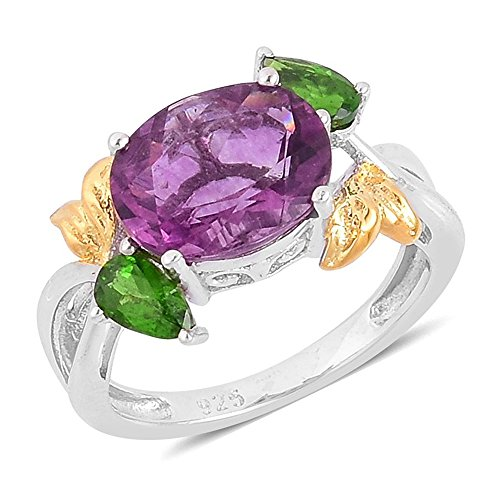 Ring Yellow Fluorite - Purple Fluorite Diopside 14K Yellow Gold Over and Sterling Silver Split Ring For Women 4.1 Cttw Size 8