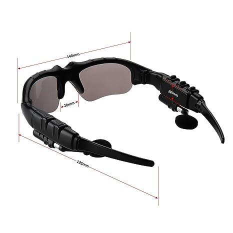 Excelvan KV8 Gafas De Sol para Smartphone (Bluetooth 3.0, Auriculares, Música, Llamada), Negro: Amazon.es: Electrónica