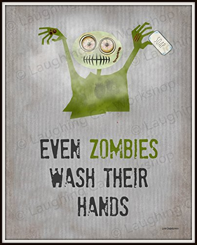 Zombies Bathroom Art Print, Funny bathroom wall art, Funny Zombie Back to School Nurse Doctors office decor Apocalypse Wash Your hands art Health Education Poster for Kids Halloween Dorm -