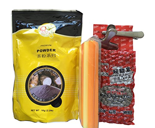 Taro QBubble Tea, Black Boba Tapioca Pearls, Boba Straws and Bag Clips Gift Bundle from Hanover Shops Collection