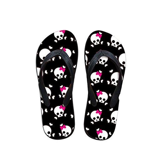 Comfort FOR Slippers Casual Beach Summer Sandals DESIGNS 2 Flat Black Flip Men Women Unisex Skulls Pattern Flops U Fashion Shoes pPqSrp