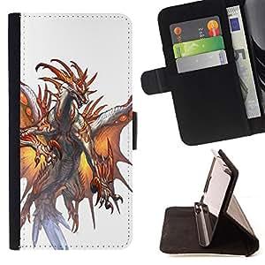 - White Dragon Fire Wings Mystical - - Prima caja de la PU billetera de cuero con ranuras para tarjetas, efectivo desmontable correa para l Funny HouseFOR Samsung Galaxy S5 V SM-G900